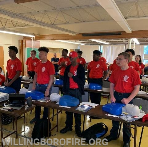 Preparing to start compressions during CPR training